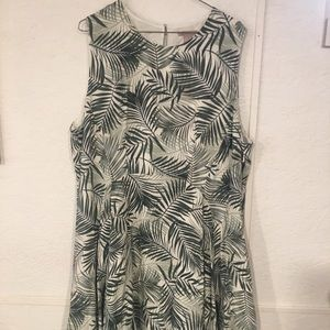 H and M tropic green and white short dress